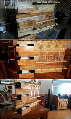 Pallet Wine Rack with Glass Holders Wine Rack Shelf, Wine Glass Shelf, Floating Glass Shelves, Glass Shelves Kitchen, Wine Glass Holder, Wine Racks, Kitchen Cabinets, Wood Pallet Wine Rack, Pallet Shelves