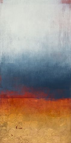 Pauline Ziegen abstract landscape oil, gold leaf large vertical The Language of Sky  60 x 29.5""