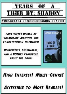 tears of a tiger lesson plans activities vocabulary tears of a tiger bundle of comprehension and vocabulary activities