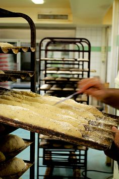 A baker scoring baguettes at Kanniston Leipomo, Helsinki, Finland. Bakery Shops, Helsinki, Finland, Bread, Food, Bakeries, Bakery, Brot, Essen