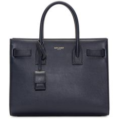 Saint Laurent Navy Baby Sac De Jour Bag (€2.355) ❤ liked on Polyvore featuring bags, handbags, tote bags, purses, navy blue leather tote, navy leather handbag, studded tote, navy leather tote and structured leather tote