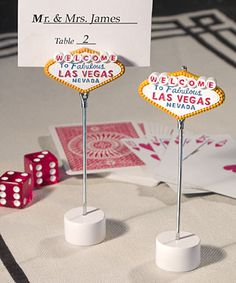 Las Vegas wedding favors for events Las Vegas Themed Place Card Holders Wedding Favours Las Vegas, Vegas Themed Wedding, Las Vegas Party, Las Vegas Sign, Las Vegas Weddings, Unique Wedding Favors, Casino Party, Casino Theme, Casino Night