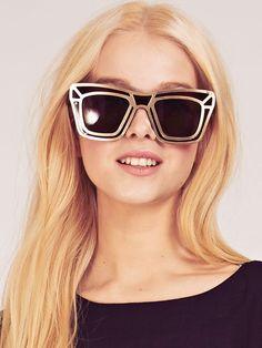 Dahlia Black Steel Cut-Out Cat Eye Sunglasses | Dahlia