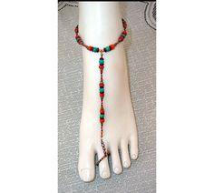Turquoise, coral and copper adjustable slave anklet barefoot sandal brockus creations, $20