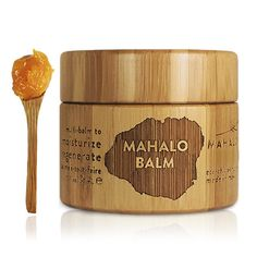 MAHALO Balm regenerates skin from the molecular level by engaging anti-inflammatory Turmeric, sebum-balancing Macadamia oil, acne-fighting Tamanu oil, tissue-repairing Carrot oil, eczema-soothing Neem oil, cell-regenerating Kukui oil, skin-repairing and emollient Sea Buckthorn, hydrating and scar-soothing Rosehip oil, skin-toning Grapeseed butter and skin protecting and humectant Beeswax.