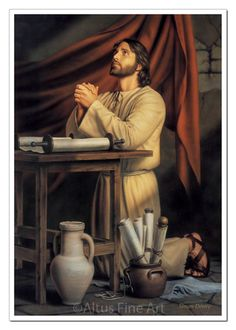 """'Hallowed Be Thy Name' by Simon Dewey …The painter """"wanted to present Christ, before his ministry began, preparing himself through study and prayer. Images Of Christ, Pictures Of Jesus Christ, Religious Pictures, Bible Pictures, Religious Art, Sunday Pictures, Lds Art, Bible Art, Arte Lds"""