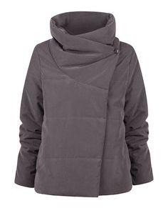 SuiteBlanco- Wrap-around collar quilted down jacket