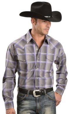 Stetson Purple & Grey Plaid Long Sleeve Shirt - Sheplers