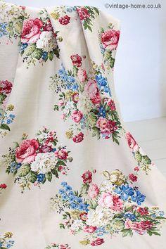 Vintage Home Shop - Beautiful Vintage Floribunda Barkcloth Fabric: www.vintage-home.co.uk