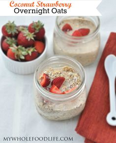 Coconut Strawberry Overnight Oats.  The easiest breakfast ever.  No cooking required!  Make 5 at a time for easy breakfasts all week! #vegan #glutenfree #breakfast