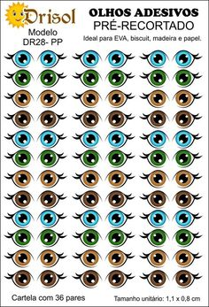 ADESIVO DE OLHO DR28 - Comprar em Drisol Artes Biscuit, Eye Stickers, Lol Dolls, Cake Toppers, Baby Dolls, Polymer Clay, Drawings, Pasta Flexible, Clays