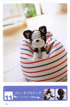 FREE Boston Terrier Puppy Dog Amigurumi Crochet Pattern and Tutorial (click on right arrow to get to free chart)