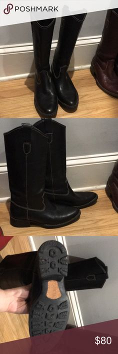 Born Shavano Black Cowboy Boots.  Size 7. Born Shavano Black Cowboy Boots.  Size 7 (Euro 38).  Excellent condition.  Extremely comfortable.  High Quality Leather.  Shaft height is 13 inches, circumference is 14 inches, and heel is 1.5 inches. Born Shoes Heeled Boots