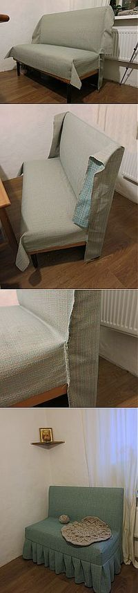 how to upholster a sofa bench Diy Sofa, Furniture Makeover, Diy Furniture, Chair Covers, Soft Furnishings, Slipcovers, Diy Home Decor, Upholstery, Decoration