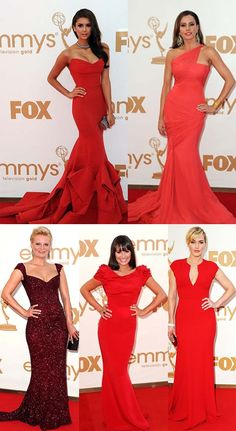 Red carpet at the Emmys 2011. Nina Dobrevs dress is AMAZING