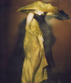 Guinevere in yellow dress, Paris 1996… Photographer, Paolo Roversi