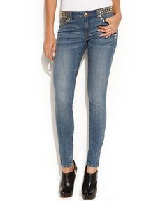 Michael Kors Studded Skinny Jeans-Edgy Glam! goldtone pyramid studs on front waistband/pockets/hips AND back top pockets, skinny fit through hips/thighs/ankle, front zipper fly w/button closure, 5 pocket classic styling w/belt loops, low rise, waistband sits at hips, medium wash color, 98% cotton/spandex 2%, style #MF49CALDS1, retail $135, Macy's (size 0)