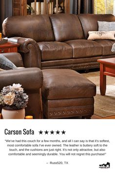 Best Reviewed Sofa: Carson sofa in supple, artisan leather
