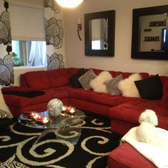 Living room design ideas with red sofa decoration lights for home black n white and red Red Couch Decor, Red Sofa Living Room, Red Living Room Decor, Black And White Living Room, New Living Room, Black Living Room Decor, Couches Living Room, Black Living Room, Living Decor