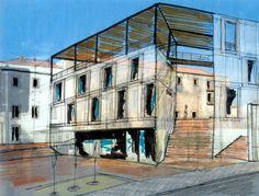 Estudo para um quarteirão em telheiras, Lisboa, 2009 Study for a mixed use block in telheiras, Lisbon, 2009 - Student's micro apartment unit. By Carlos Filipe