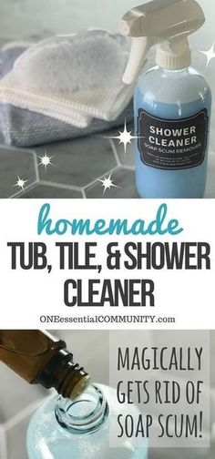 Magic homemade shower cleaner shines, cleans, and disinfects tubs, tile, and glass shower doors with practically no scrubbing to get rid of soap scum, hard water stains, dirt, grease, grime, mold & mildew. Just 3 ingredients (Dawn, vinegar, and essential oils) makes shower clean, shiny, and sparkly! {essential oil cleaner, essential oil shower cleaner, essential oil shpwer spray} #essentialoilrecipes #DIYcleaning #Homemadecleaners #essentialoilcleaning #DIYessentialoil