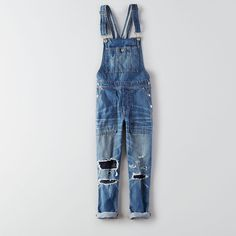 AEO Denim Overalls ($80) ❤ liked on Polyvore featuring jumpsuits, jeans, medium destroyed wash, american eagle outfitters, bib overalls, denim jumpsuit, overall and denim overalls