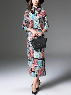 Fashion Chinese Style Three Quater Sleeve Band Collar Floral Maxi Dress