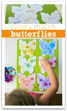color matching game with butterflies for kids