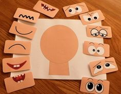 Make a face activities - ELSA Support Emotions for children : cambiar de tamaño 1 This Make a face resources has 12 different sets of eyes and mouths and a set of emotions vocabulary flash cards. Help children to learn about emotions. Emotions Activities, Infant Activities, Preschool Activities, Emotions Preschool, Teaching Emotions, Children Activities, Body Preschool, Group Activities, Kindergarten Montessori