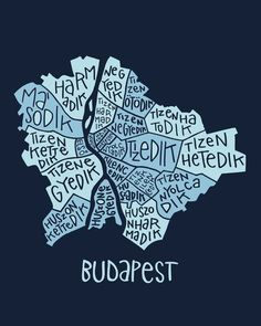 Budapest typo map Art Print by zldrawings - X-Small Budapest City, Budapest Travel, Voyage Europe, Vintage Maps, Web Design, Illustrations And Posters, Travel With Kids, Travel Posters, Hungary