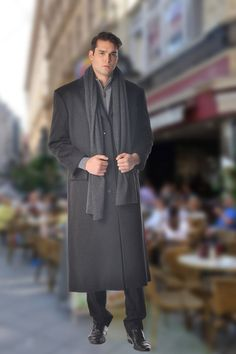 2a6215e5e06 Men s Full Length Overcoat in Pure Cashmere in Portly Size