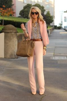 With striped shirt, brown belt, neutral shoes and big bag - Styleoholic
