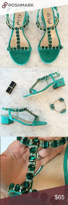 "Italian leather embellished sandals Brand new without tags, unworn. Stunning and one of a kind! Italian leather - lush green suede with sparkly stones. 2"" block heel. Perfect for weddings or a night out. Italian size 37. No trades. Shoes Sandals"