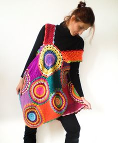 What the *'?%#/;* is this, afghan with straps...or what???? Women's Dress / Tunic - Retro Crochet Circles