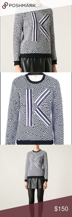 "Kenzo K Broken Floor Sweatshirt Super trendy, ""street style"" sweatshirt from designer Kenzo. Looks incredible with a miniskirt or leather pants and sneakers. This is an awesome statement piece and will make every outfit pop. It has never been worn and is in perfect condition. Kenzo Sweaters Crew & Scoop Necks"