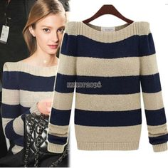 Womens Loose Knitted Sweater Jumper Long Sleeve Crew Neck Pullover Outwear Tops
