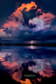 Reflecting sunset strike - Lightning Strikes at sunset over Tampa Bay.
