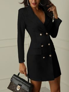 Buy 1 Get 1 at extra OFF Code: SUNIDRESS black long sleeve blazer dress midi blazer dress double breasted work suits for women Work Summer Out 40 50 Size Trendy Dresses, Casual Dresses, Dresses For Work, Blazer Fashion, Fashion Outfits, Womens Fashion, Fashion Ideas, Fashion 2018, Ladies Fashion