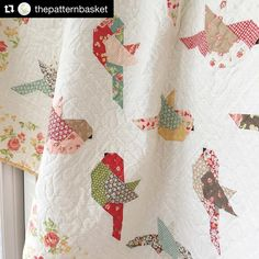 I've had a lot of requests for the name of the background fabric I used in some of my new patterns. It's called Swiss dots cream on cream by It's so pretty and soft I think it goes with just about any collection. Bird Quilt Blocks, Quilt Block Patterns, Quilting Projects, Quilting Designs, Quilt Design, Quilting Tips, Baby Quilts Easy, Farm Quilt, Sewing Room Decor