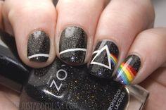 Pink Floyd nails I would so get my nails done like this! Dark Nail Designs, Acrylic Nail Designs, Nail Art Designs, Acrylic Nails, Nails Design, Gel Nails, Salon Design, Band Nails, Rock Nails