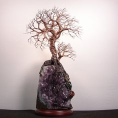 Amethyst Geode Crystal cluster wire Tree Of Life by CrowsFeathers, sold