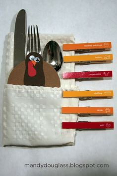 A turkey meal tracker. Print them out and attach them to clothspins. When the kids eat an item off their plate, they get to place a cloths pin on their turkey (acting as a feather). As soon as the turkey has 6 feathers, bring it to the host for a special treat!