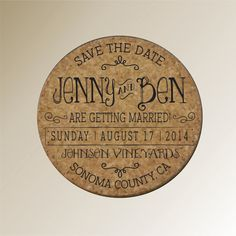 Custom Save the Date Invitation cork by PersonalizedGallery