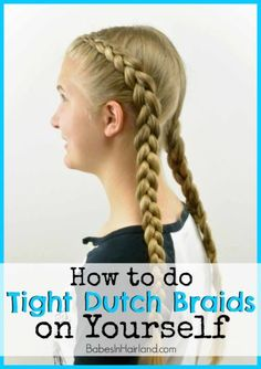 How to: Tight Dutch Braids on Yourself How to: Tight Dutch Braids on Yourself from BabesInHairland. Box Braids Hairstyles, French Braid Hairstyles, Wedding Hairstyles, Protective Hairstyles, Princess Hairstyles, Braided Hairstyles Tutorials, Updo Hairstyle, Girl Hairstyles, Dutch Pigtail Braids