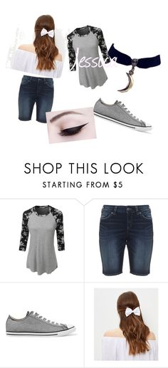 """""""Jessica"""" by millenrocks ❤ liked on Polyvore featuring LE3NO, Silver Jeans Co., Converse, New Look and Quotev"""