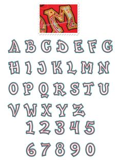 Fun & Funky Applique Font Sizes: 3in, 4in, 5in, 6in  Upper Case, Numbers 0-9