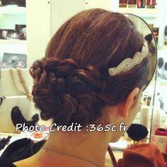 french braid + head band
