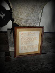 ANTIQUE  ART DECO HAND CALLIGRAPHY WRITTEN FRAMED  POEM ~MAJESTY~SIGNED ON BACK #SIGNEDONBACK