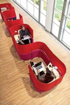 Can't Focus In Your Open Office? Wrap Yourself In This New Cocoon To Tune Out Distraction Can't Focus In Your Open Office? Wrap Yourself In This New Cocoon To Tune Out Distraction Office Space Design, Modern Office Design, Workplace Design, Library Design, Office Designs, Cool Office Space, Small Office, Office Furniture Design, Office Interior Design