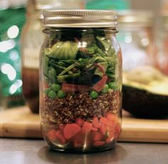 Salad in a jar really works!  I made one yesterday and today I had salad for lunch with no soggie lettuce or wierd ziplock of dressing.  Just put the dressing at the bottom and the lettuce on top and your salad will stay good as long as your veggies would!